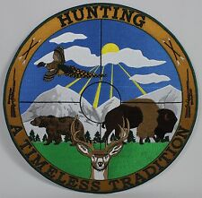 """Hunting Timeless Tradition 12"""" Embroidered Patch Round Badge Deer Buck Bear New"""
