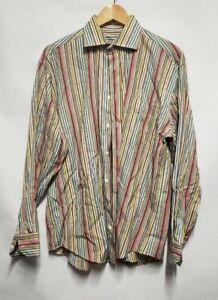 Bugatchi Uomo Mens Button Up Shirt Brown Stripe Long Sleeve M Medium
