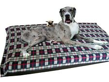Cosipet X Large W/proof Foam Pad Navy Plaid Fleece Dog Bed Free Spare Cover