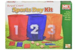 New 3in1 Sports Day Kit Sack Race Egg & Spoon Race Set Bean Bag Toss Fun Game