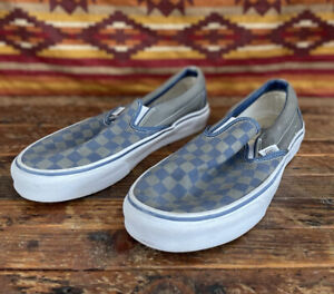 EUC Vans Checkerboard Blue Gray Slip On Shoes Canvas Sneakers 9 Men 10 Women