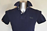 Superdry Mens Vintage Slim Fit Short Sleeve Cotton Polo Shirt Navy - Size Small