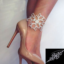 Crystal Silver Bridal Bangle Anklets Foot Chain Bracelet