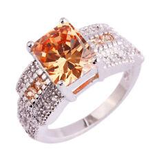 Cocktail Jewelry Emerald Cut Morganite & White Topaz Gemstone Silver Ring Size 8