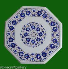 "18"" Marble Lapis Inlay Handicraft Inlay Coffee Table / Side End Table Home Decor"