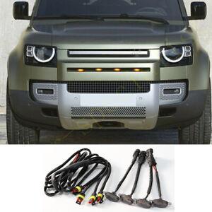 4X For Land Rover Defender 2020-2021 Grille LED Amber Light Raptor Style Grill