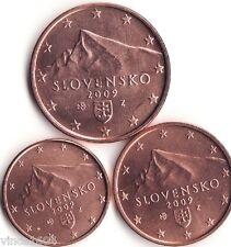 lot 1,2,5 cts cent centimes euro Slovaquie / Slovakia 2009 , qualité UNC !!
