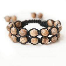Mens Jasper Double Layer Gemstone Beads Shamballa Wrap Beaded Jewelry Bracelet