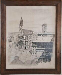 Tableau Dessin original à l'encre Eglise St Etienne du Mont Paris 1943 G. ROTH
