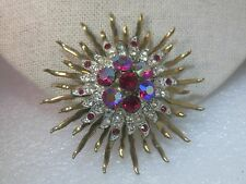 "Vintage Two Tone Red Aurora Borealis Sunburst Brooch,   2.25"",  1950's"