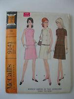 VTG 60s Mod Style McCalls Dress Pattern #9141  Size 18/Bust 40