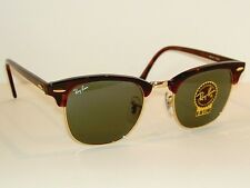 New RAY BAN Sunglasses Tortoise CLUBMASTER RB 3016F W0366 G-15 Glass Lenses 55mm
