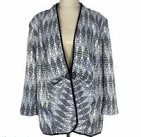 Liz Jordan Womens Black/White Striped Long Sleeve Jacket Plus Size XL
