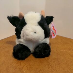 Meadow the Cow Puffkins Collection  #6624 Bean Bag Plush 1997 Swibco w/ Hang Tag