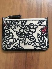 Coach Poppy Flower Design Coin Purse Change Wallet Black Trim Zip