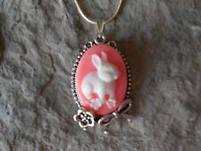 BUNNY RABBIT CAMEO PENDANT NECKLACE - 925 PLATE CHAIN- BOW, FLOWER, PINK, EASTER