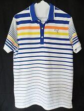 Puma Men M Medium Striped Polo Shirt Short Sleeves Blue Orange Yellow USP Dry