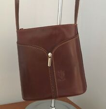 Italian Genuine Leather Brown Cross Over Body Bag .LAST FEW AT THIS PRICE.