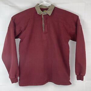 Mens Cabela's 1/4 Button Pullover Red - Tan Fleece XL Tall Long Sleeve Shirt VTG