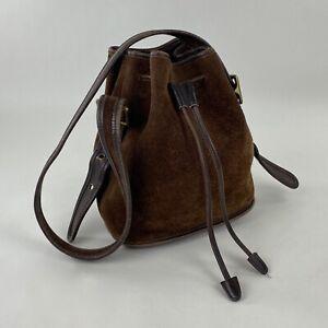 Vintage Coach Berkley Drawstring Bucket Bag Purse Brown Suede Leather 9012