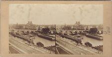Panorama de Paris La Seine Pont Neuf Photo Stéréo Vintage albumine vers 1855