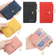 Lady Mini Wallets Leather Slim Clutch Bifold Purse Card Holder For Girls Women