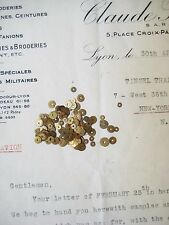 Vintage Antique French Metal Tiny Gold Sequin Mix Couture Embroidery Costume
