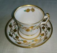 ROYAL CHELSEA BONE CHINA FOOTED TEA CUP & SAUCER SET GOLDEN JADE ENGLAND