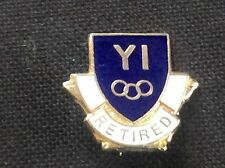 Vintage Enamel Pin Badge YI Retired Blue Shield Shape Adverising Collectable VGC
