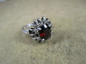 Sterling Silver & Garnet/CZ Ring, Unsigned, Size 6.75, 5g