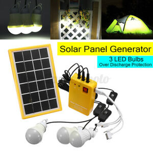 Solar Panel Power Charging Generator Home System Kit with 3 LED Bulbs Outdoor UK