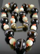 ANTIQUE VICTORIAN Large BANDED AGATE CORAL & MOP BEAD NECKLACE Gold Clasp C.1880