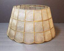 "Vtg Mid Century Modern Brass Capiz Shell Lamp Light Shade Hollywood Regency 16"""