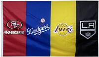 San Francisco 49ers & LA DODGERS & LA LAKERS & Los Angeles Kings flag 3x5FT