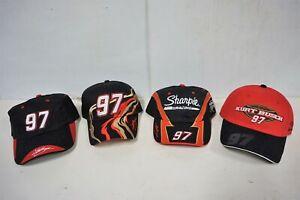 Lot of 4 - Kurt Busch #97 Sharpie 2004 NASCAR Racing Caps/Hats - by Team Caliber