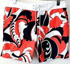 8c6ea74120 MR TURK 'Malibu' Men's Coral Navy Floral Swim Trunks / Board Shorts ...