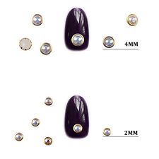 1 Box AB Beige Color Metal Edge Glitter Nail Beads Studs