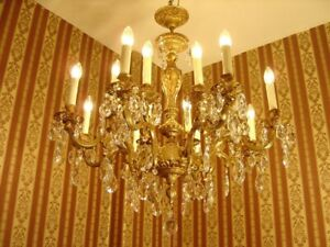 CRYSTAL GOLD BRONZE CHANDELIER LAMP LIVING ROOM CEILING LAMP 16 LIGHT