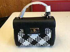 NEW Michael Kors KARSON Mini Satchel Bag Woven Leather Optic White/Black