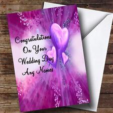 Purple Hearts Romantic Personalised Wedding Day Greetings Card