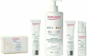 Topicrem MELA PACK Lightening Milk, Day and Night Cream, Booster Serum, and Bar