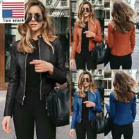 Womens Ladies Motorcycle Biker Jacket Faux Leather Zip Up Blazer Coat Outwear
