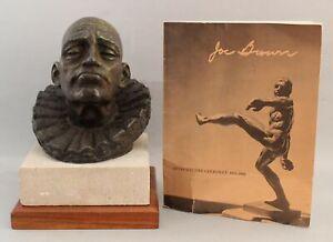 1950 Authentic JOE BROWN Bronze Bust Sculpture, Head of a Clown, w/ Catalog NR