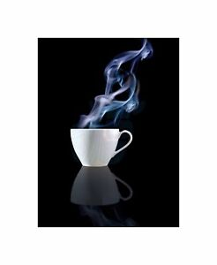 Steaming Cup Tea Coffee Drink Kitchen Photo Art Picture Canvas Print