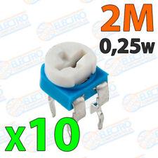 10x Potenciometro 2M ohm 1/4w 0,25w horizontal resistencia variable PCB