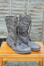 *OMG AllSaints Mens Leather lace up side zip Military Boot UK8 US9 Boots Brown B