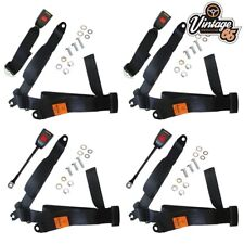 Riley Elf Saloon Front & Rear Full 3 Point Seat Belt Set Black