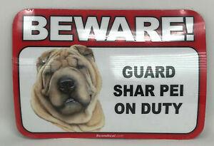 Beware! Guard Shar Pei Dog On Duty Magnet Laminated Car Pet 6x4 New