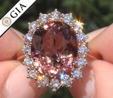GIA 11.03 ct Natural VS Pink Tourmaline and Diamond 18k Rose Gold Estate Ring