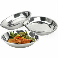 Silver Camping Stainless Steel Tableware Dinner Plate Clean Food Container W1M9